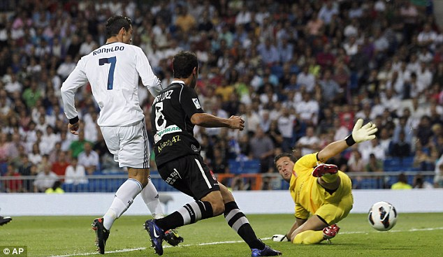 Double trouble: Ronaldo scored two goals in the 3-0 thrashing