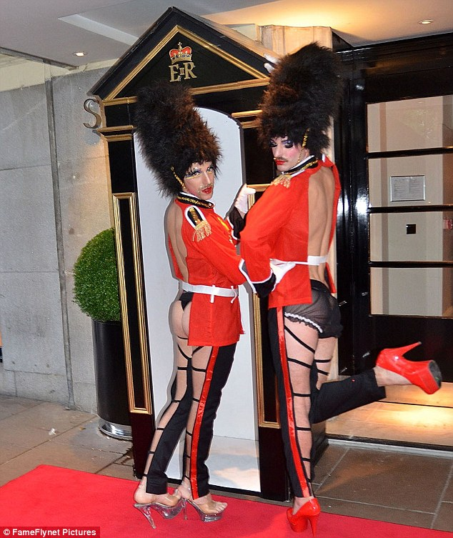 Going all out: Guests were given an exuberant welcome as they arrived at the Savoy Hotel