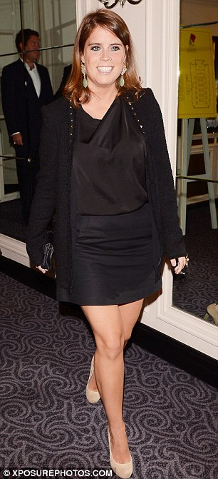 Tanned and toned: Princess Eugenie showed off her slender frame in a chic black minidress at the Freddie For A Day fundraising event at London's Savoy Hotel on Monday night