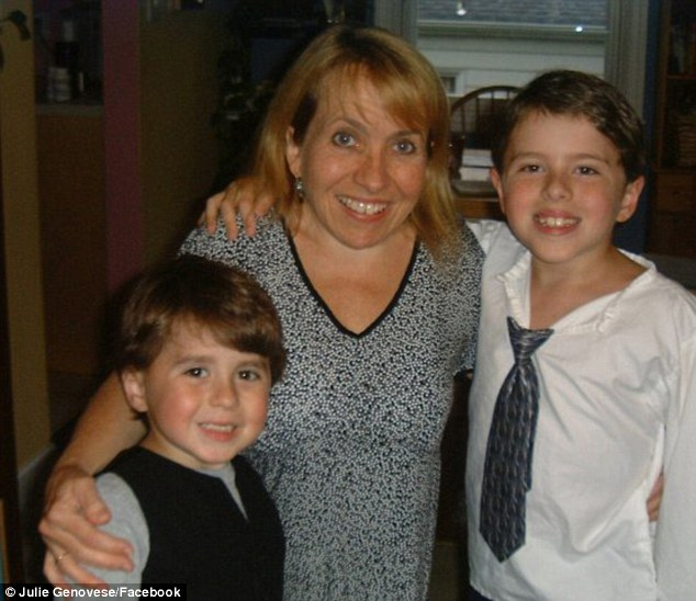 Happy family: Ms Genovese with her sons, Ky (left) and Spence (right), who were born without dwarfism
