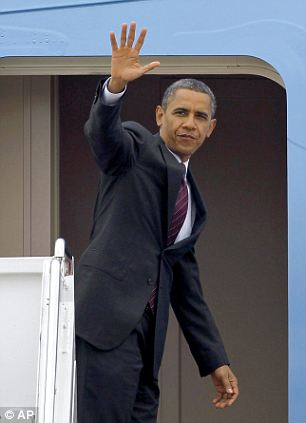 Heading south: President Obama left the White House on Tuesday to head to Norfolk, Virginia for a campaign event