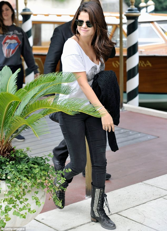 Raring to go: Selena arrived in Venice today for the premiere of Spring Breakers at the Venice Film Festival