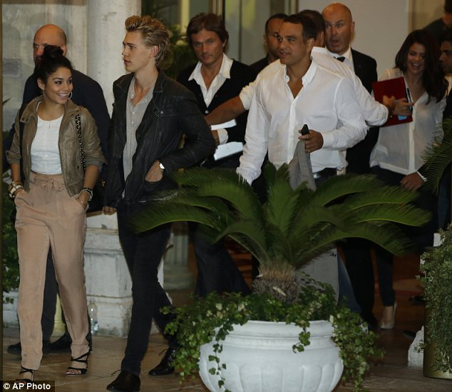 Close friends: Selena (far right) was seen heading out with Vanessa Hudgens (left) and her boyfriend Austin Butler