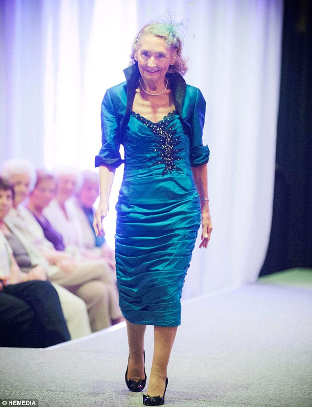 Inspirational: Eighty-year-old Marion Finlayson wows the audience as she takes to the runway at the Aberdeen City Council's 50 Plus Festival 60 years after giving up modelling