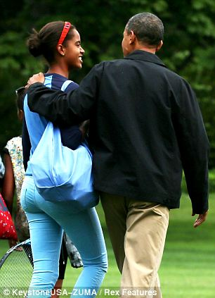 Daddy daughter time: Obama was seen lifting Sasha out of a car in 2008 (left) and walking with Malia very recently (right)