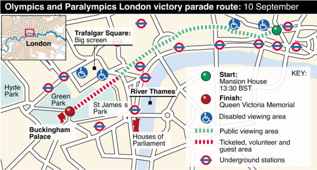 'Electric atmosphere': The victory parade will start at Mansion House at 1.30pm, snaking along Fleet Street, Aldwych and into The Strand by 2.30pm, before continuing on to Buckingham Palace by 3.30pm