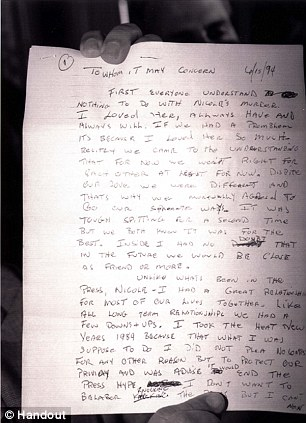 picture shows the first page of a four-page letter written by OJ Simpson concerning charges against him