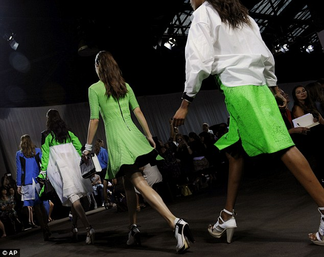 High-vi colour: Full of electric green, cobalt blue and eye-popping coral, the Rag and Bone produced a collection that every New York City girl will want to be seen in next summer