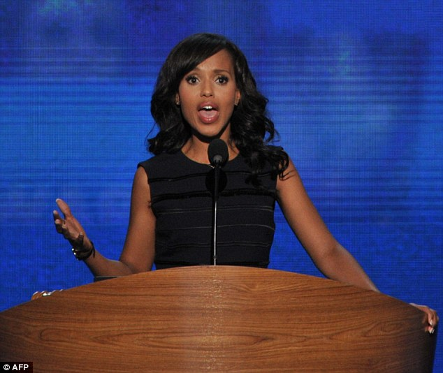 Showing her support: Kerry Washington spoke on Thursday at the Democratic National Convention