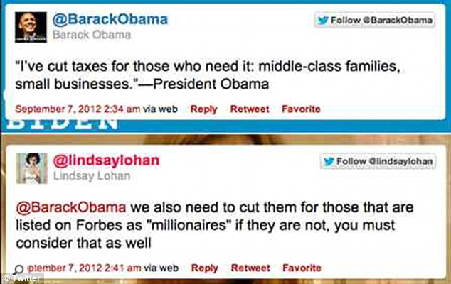 Shameless: Lindsay Lohan responded to a tweet from President Obama by appealing to him to cut taxes for the wealthy