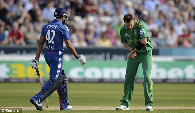 In a rut: Ravi Bopara's woes continued, with England's No 4 making six off 11 balls