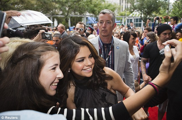 A people person: Gomez posed for snaps with fans