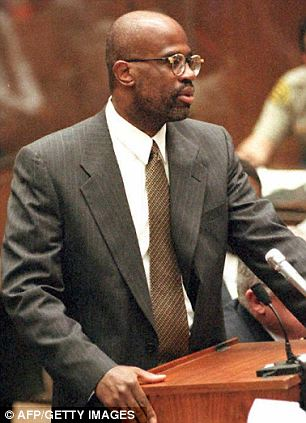 New allegations: Prosecutor Christopher Darden, pictured at the 1995 trial, now alleges that Simpson's lead defence attorney tampered with the leather gloves
