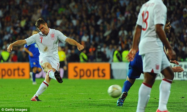 Strike: Milner fires in his first international goal