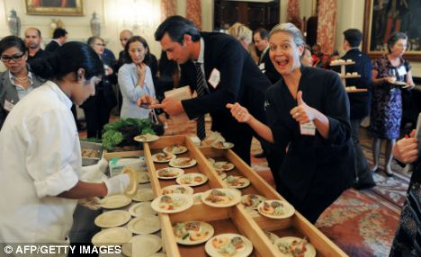 Chef Amanda Freitag (right) at a gathering of the newly-created American Chef Corps, a network of chefs from across the country who will serve as a resource to the State Department