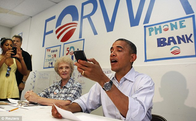 'Aaaaah': U.S. President Barack Obama eventually manages to get through to volunteers from the Obama for America Field Office in Port St Lucie, Florida