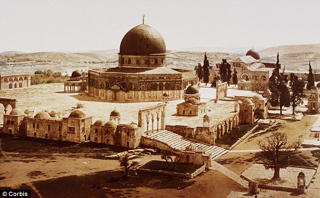The Dome of the Rock, a Muslim shrine, occupies the former site of the First Temple, built by Solomon