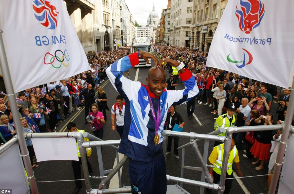 Crowd pleaser: Mo Farah does his famous pose the 'Mobot'