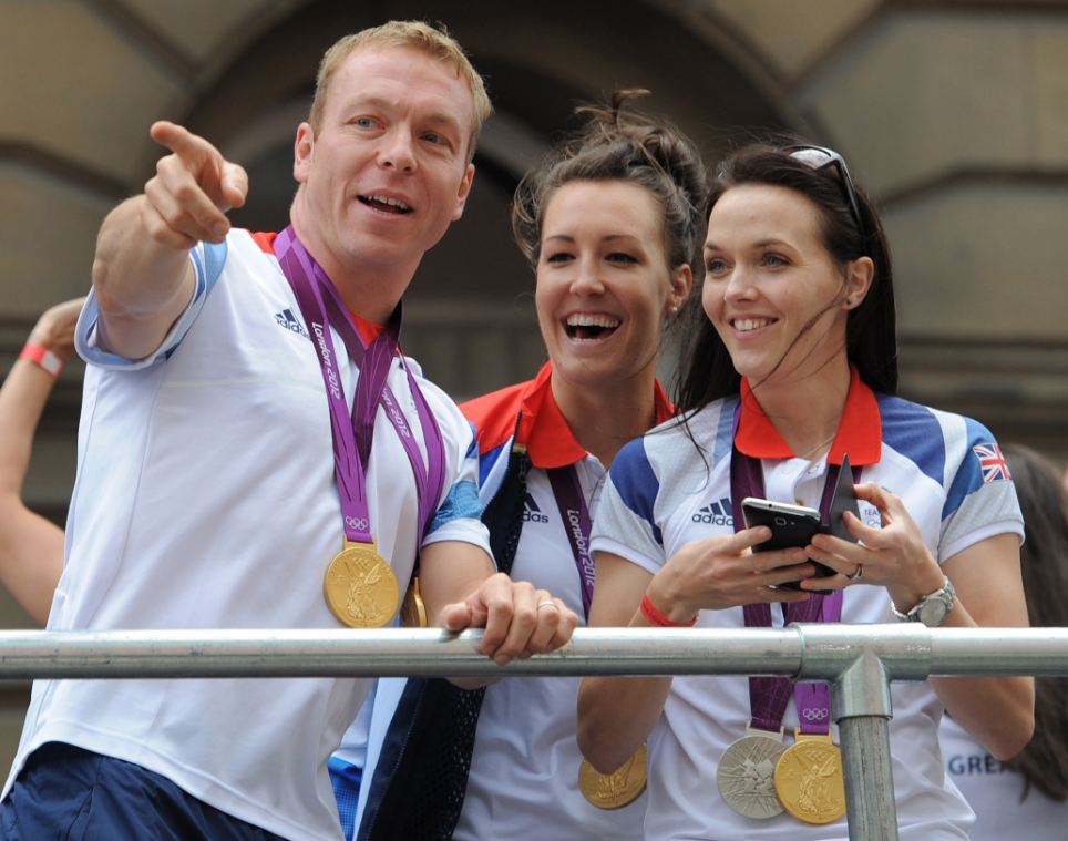 Gold bus: Chris Hoy (left), Dani King and Victoria Pendleton during the parade