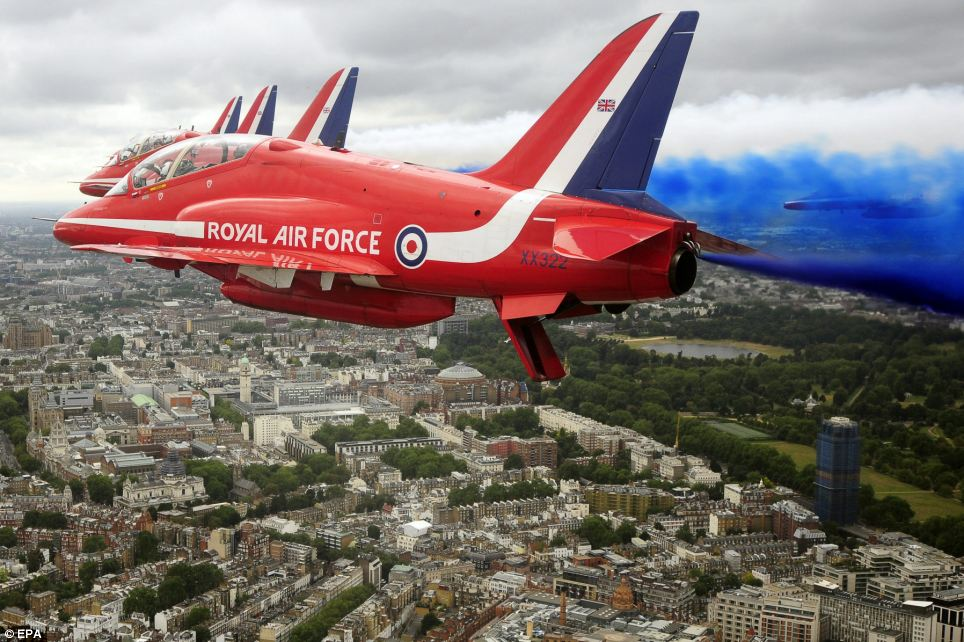 The Red Arrows flying down the Mall to the Queen Victoria Memorial during Our Greatest Team parade