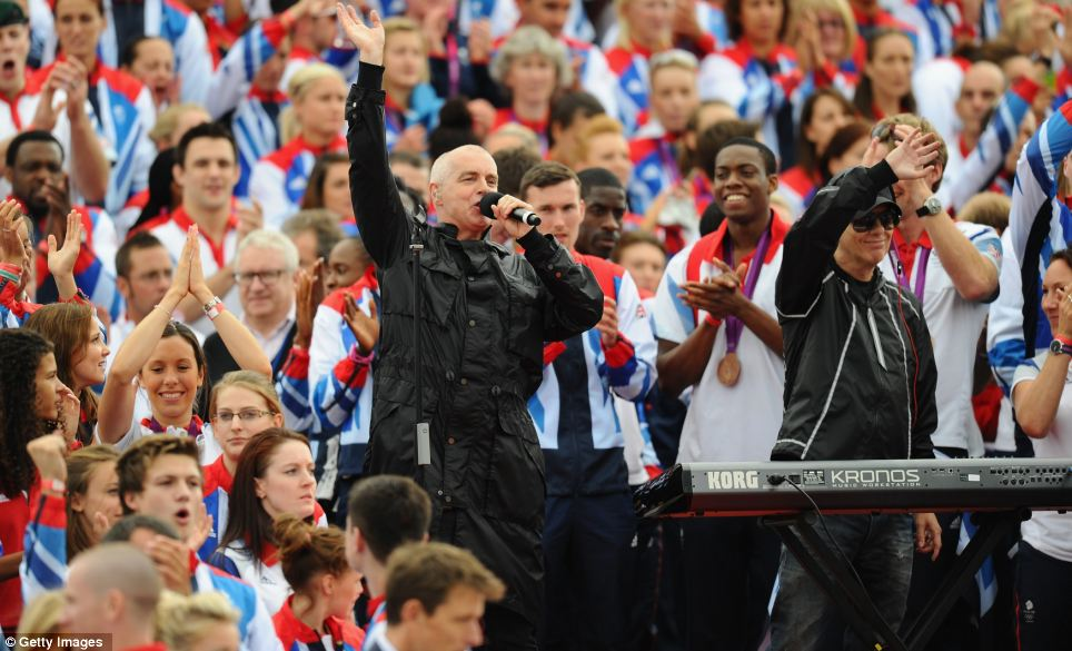 The Pet Shop Boy's Neil Tennant and Chris Lowe perform during the Olympics & Paralympics parade