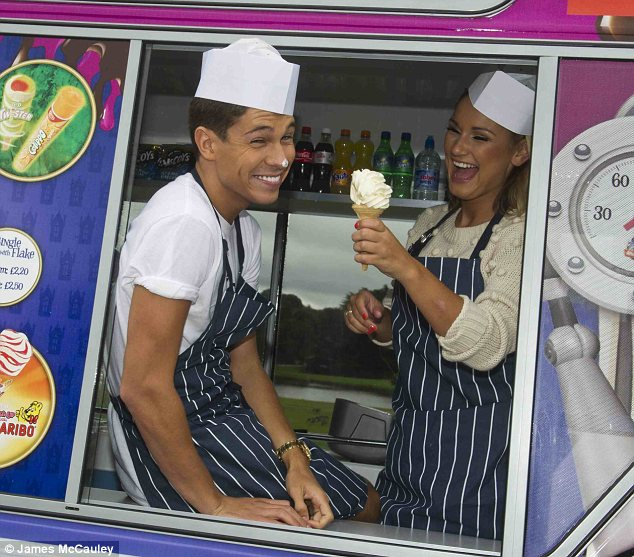 Fooling around: The pair also turned into ice cream vendors and were seen playing with their food