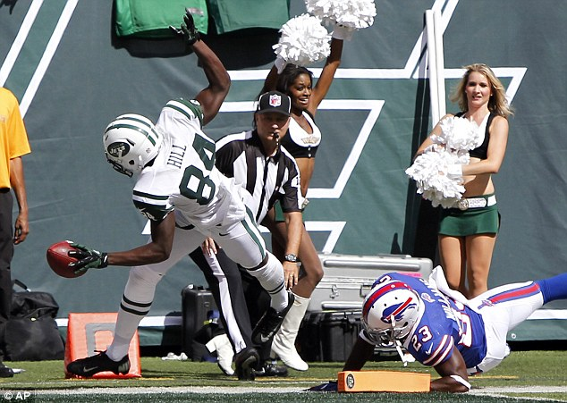 Start as he means to go on: Stephen Hill grabbed two touchdown scores against the Buffalo Bills