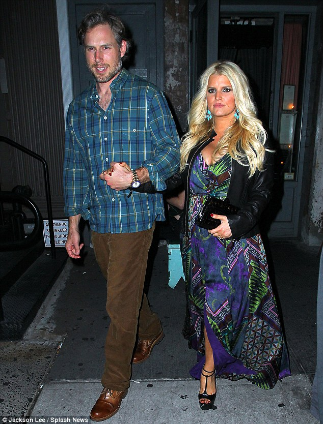 Time to relax: Jessica Simpson steps out for dinner at Tiny's restaurant with her fiance Eric Johnson