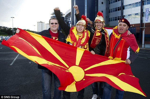 Cheery: Macedonian fans were in good voice as they arrived at Hampden Park
