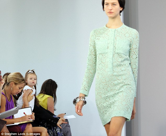 Looking mint: Harper seemed to be particularly keen on this mint green lace shirt dress