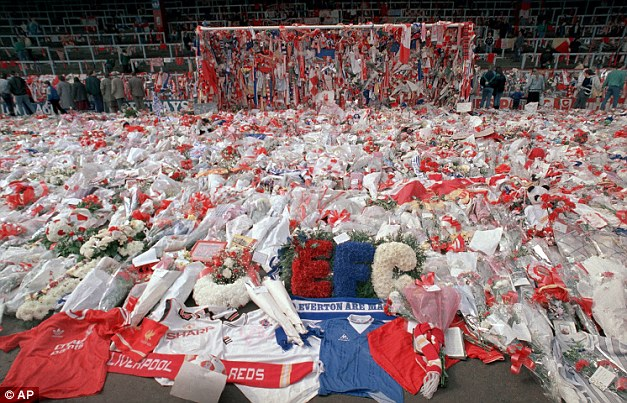 Grief: The scene at Anfield in the days after the tragedy