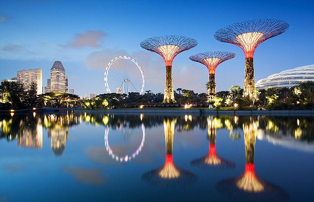 Modern symbol: The £350m man-made 'Supertrees' in Singapore's the Gardens by the Bay have come to symbolise Singapore's ascent as one of the world's economic powerhouses and home to trend-setting urban innovation and design