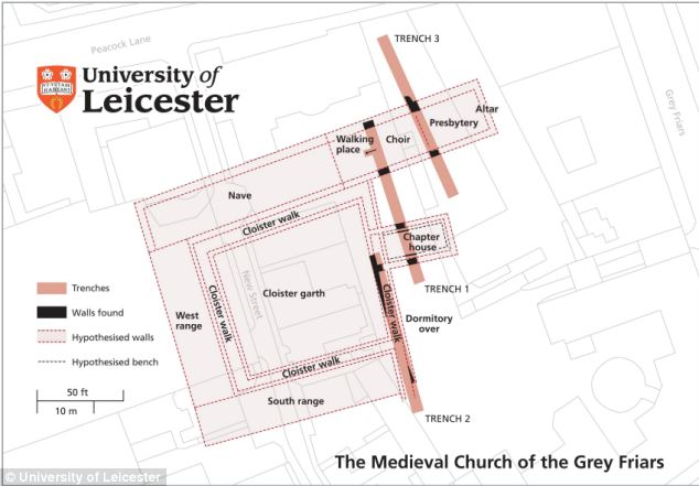 A map of the medieval chuch of the Grey Friars where the remains were found.