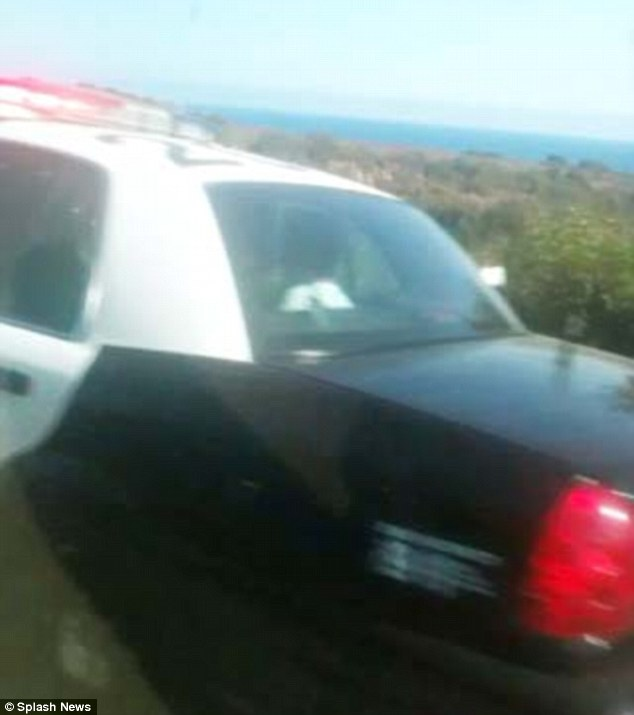 Off he goes: A passerby took a picture of Michael Madsen being taken away by police in Malibu