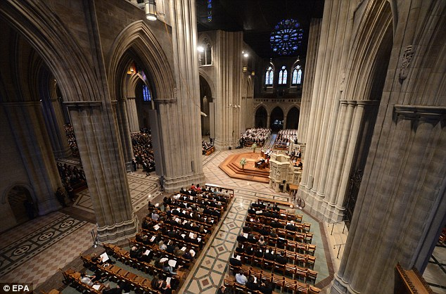 Mourners who packed the vast cathedral to mark Armstrong's death last month heard him described as embodying the best of American values and a dedicated pilot