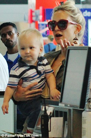 Oh baby! The actress with her son Bingham earlier this month