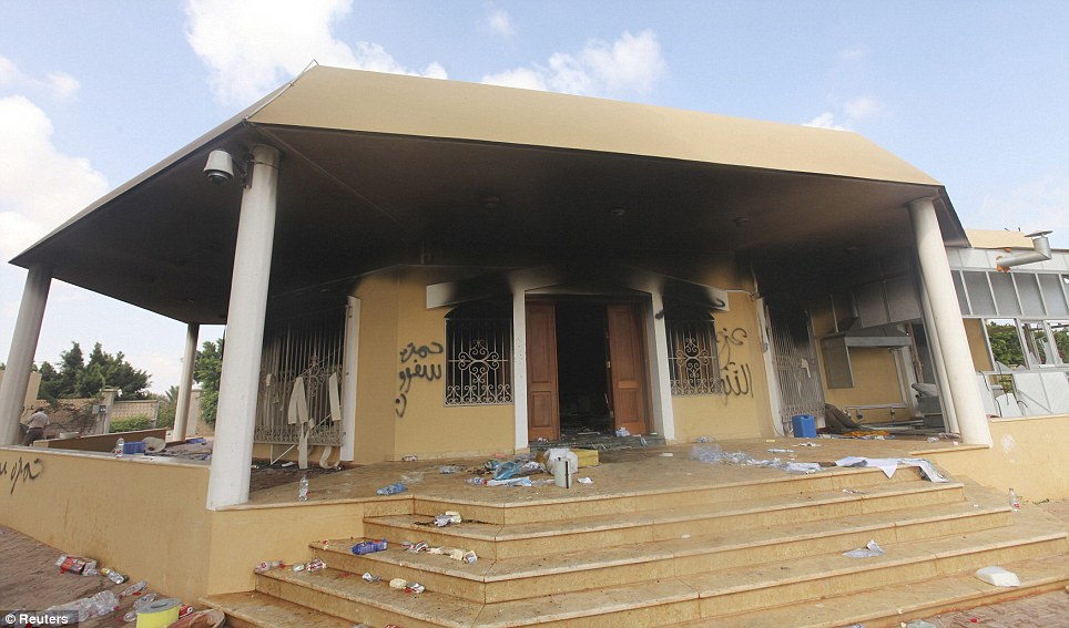 Ravaged: An exterior view of the U.S. consulate; according to reports, the embassy was looted, and now, sensitive documents have gone missing