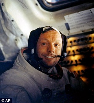 Space cowboy: Armstrong, pictured on July 20, 1969, became the first man to walk on the moon