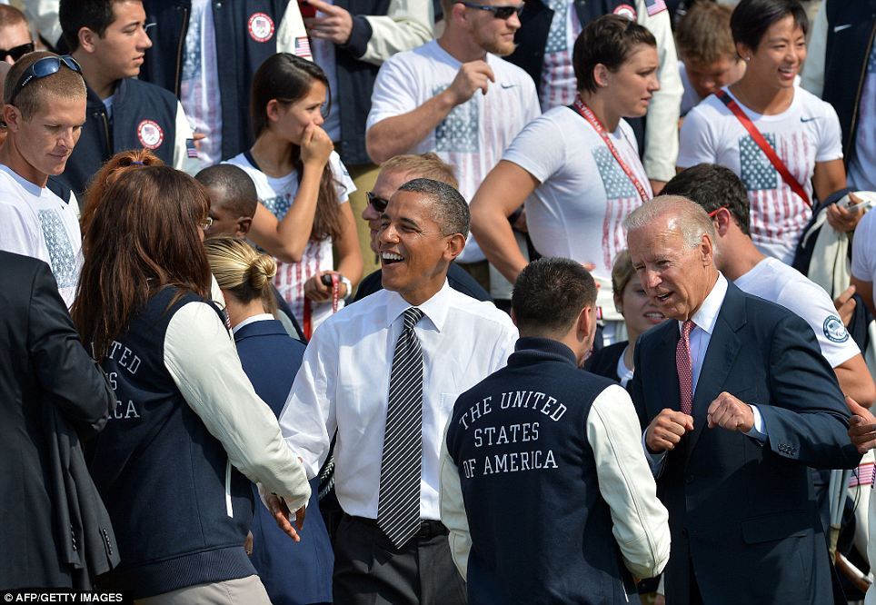 Meet the President: Olympians shake hands with a jolly looking Barack Obama