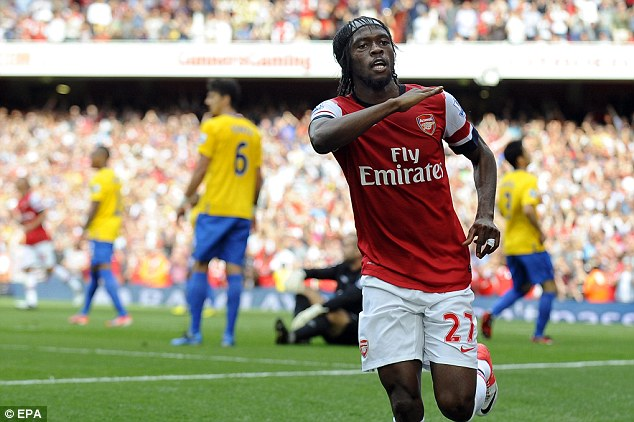 Influential: Gervinho hit two and was at the heart of much of Arsenal's attacking guile