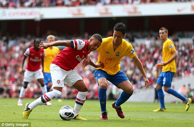 Moving on: Alex Oxlade-Chamberlain turned out against his former club
