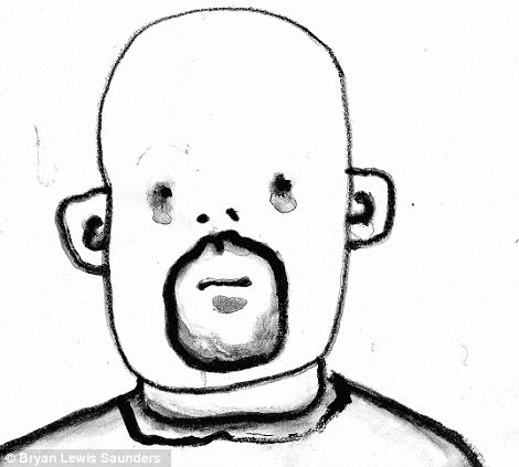 In '1 sm Glass of ¿real¿ Absinth' his raw outline is line-drawn in what looks like charcoal, smudges around his pin-dot eyes making him look like he is crying