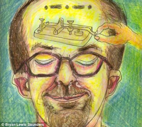 In 'Butane Honey Oil' a mechanical instrument is drawn into his head, in place of his brain, a self-satisfied smile on his lips, his eyes closed