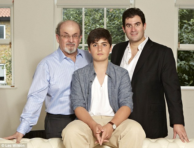 Lasting bond: Author Salman Rushdie with his sons Milan, 15, and 33-year-old Zafar