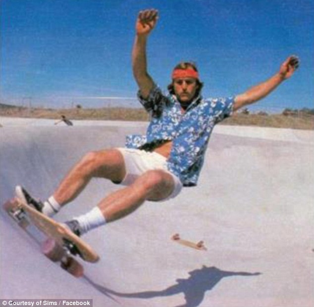 Skate star: Sims, pictured, was an avid skateboarder before designing a similar board for the slopes