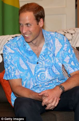 New look: William knew his colourful shirt was coming because his hosts had checked his size in advance