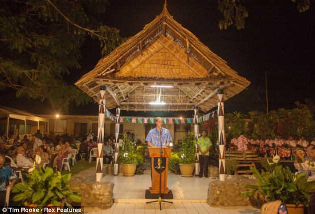 Public speaking: William addresses guests at the state banquet in Honiara
