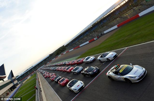 Bumper-to-bumper: There were so many Ferraris taking part that there was only 250m of road free on the 3.6 mile track