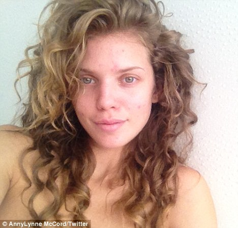 'I'm not perfect': Back in May she tweeted this make-up free picture and wrote that she was 'over Hollywood¿s perfection requirement'
