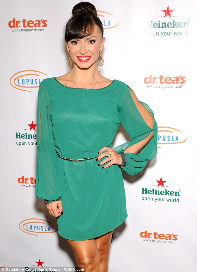Saucy: Karina flaunted her curves at the  4th Annual Get Lucky for Lupus Celebrity Poker Tournament earlier this week